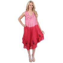 La Leela Viscosa Tanque Mono Tie Dye Diseño Rosa Vestido Ca