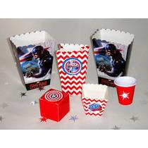 Capitán América Dulcero Mesa Infantil Caja Vaso Chicle Papas