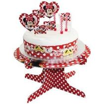 19 Piezas Kit De Minnie Mouse Lunares Decoración De Pasteles