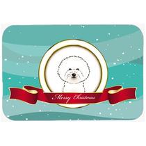 Bichon Frise Feliz Navidad De Vidrio Tabla De Cortar Grande