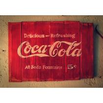 Letrero Vintage En Madera, Coca Cola