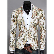 Saco Blazer Hombre Floreado Estilo Japonés Slim Fit Elegante