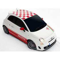 Sticker Vinil Fiat 500 Toldo Cuadriculado Checkered Roof