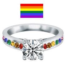 Anillo Arcoiris ( Gay ) En Plata, Oro, Diamante Ruso 50pts