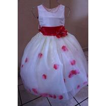 Vestido Con Pétalos Para Paje O Presentación (blanco/rosa)