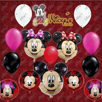 Paquete De Globos Especial Mickey O Minnie Mouse Roja O Rosa