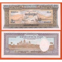 Billete Camboya 50 Riels (1972) Pescadores En Lago Tonle Sap
