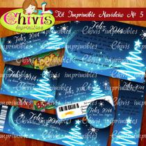 Kit Imprimible Navidad No 5 Tarjetas Invitaciones Candy Bar