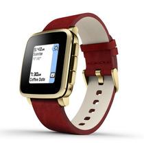 Reloj Pebble Time Steel Smartwatch Apple Android Piel Rojo