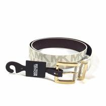 Cinturón L Michael Kors Logos Para Dama Blanco 100% Original