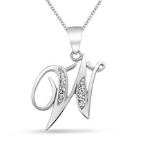Collar Bling Jewelry Alfabeto Inicial W Cursiva Plata
