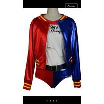 Disfraz Harley Quinn Peluca Chamarra Medias Short Y Playera