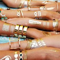 Tatuajes Temporales Dorados Grandes Diseños