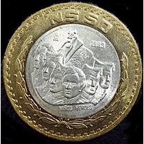 50 Nuevos Pesos Moneda Bimetalica Centro Plata Niños Héroes