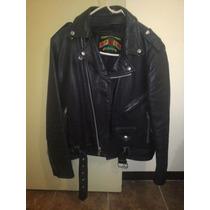 Chamarra Motociclista De Cuero Color Negro