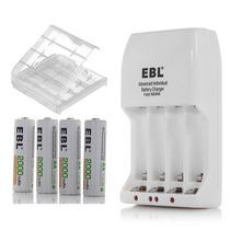 4 Pilas Baterias Recargables Aa 2000mah, Cargador Ebl Cajita
