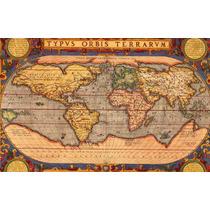 Lienzo Tela Mapa Mundi. Año 1590 52 X 90 Cm. Original
