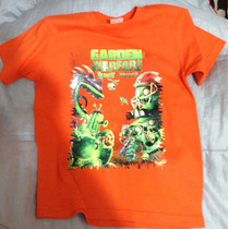 Plantas Vs Zombies Playera Naranja Talla G Niños Talla 10/12