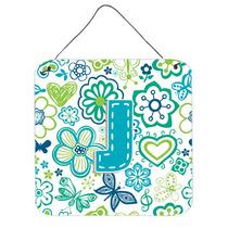 Letra J Flores Y Mariposas Azul Del Trullo De La Pared O Pue