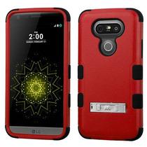 Funda Protector Triple Layer Lg G5 Rojo C/pie Metalico