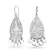Bling Jewelry Plata Bohemio Filigrana Araña Pendientes
