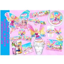 Kit Imprimible Barbie El Secreto De Las Hadas Tarjeta Cumple