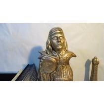 Totem Figura Apaches De Ceramica 52cms Acabado Tipo Bronce