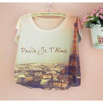 Blusas Paris Torre Eiffel Unitalla Moda Vintage Francia