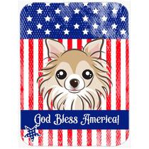 Dios Bendice La Bandera Americana Con Chihuahua Cristal Tabl