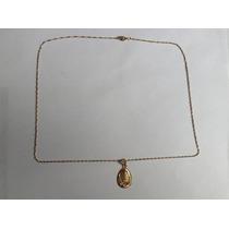 Cadena Torzal Y Medalla De La Virgen De Guadalupe Oro 10 K