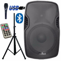 Bafle Bocina Amplificado + Tripie Microfono Usb Fm Bluetooth