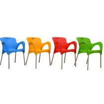 Silla De Plastico Y Acero De Colores Para Exterior R41