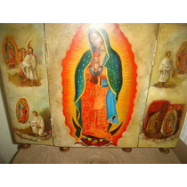 Óleo Tríptico - Retablo - Virgen De Guadalupe