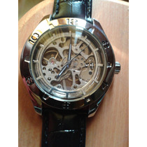 Reloj Cuerda Manual Skeleton Maquina Transparente