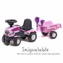 Tractor Para Niñas Color Rosa Con Remolque