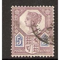 Inglaterra Estampilla Reina Victoria 5p Siglo X I X