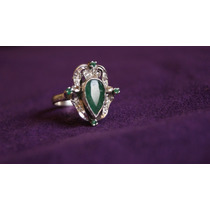 Anillo De Plata-esmeralda-diamantitos