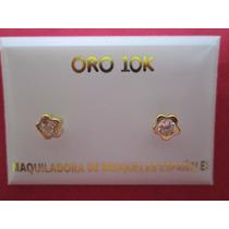 Broqueles Oro Solido 10 Kilates Con Zirconias Y Vicel Flor