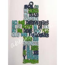 Cruz De Madera Angel De Mi Guarda Barnizada Azul Verde
