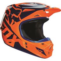 Casco Fox V1 Race Naranja Azul 2016 Motocross Atv Talla Xl