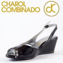 Zapato Charol Negro Combinado Marca David Corsaro