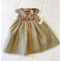 Vestido De Fiesta Para Niña Talla 3 Dorado Elegante Hermoso