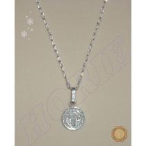 Excelente Cadena Y Medallita San Benito Plata .925