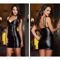 Sexy Hermoso Vestido-lencería Strech Tipo Piel Color Negro