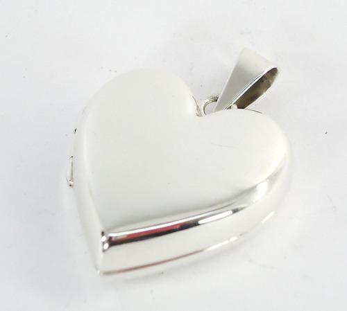 Corazón Liso Dije De Plata Relicario Guardapelo Ley.925 -   649 en ... 8039ad66523