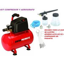 Kit Compresor Aerografo Profesional Lapiz Manguera Cepillos