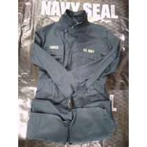 Overol Militar Us Navy Original Azul Con Parches Medium