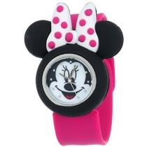 Mn1097 Minnie Mouse Reloj De Disney Para Niños Con Goma Rosa