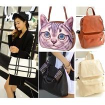 Moda Japonesa Bolsa Cartera Gato Mochila Retro Envio Gratis
