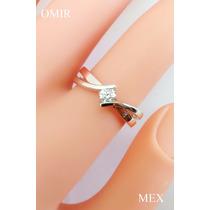 Anillo Compromiso Oro 14k Oro Rosa Blanco Diamante 20 Puntos